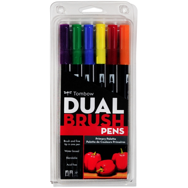 6 Pack - Primary Colours Tombow Bush Pens