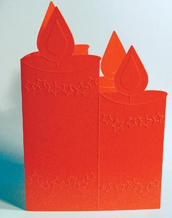 Embossed Shape Card - Candle Red