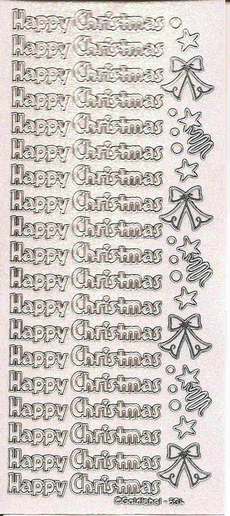Glitter Happy Christmas Silver on Transparent